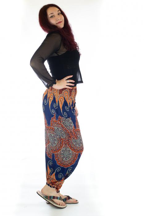 Pantaloni Jasmine cu print oriental - Model 6 2