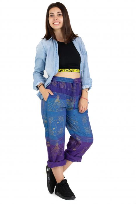 Pantaloni lejeri albastru cu mov - Heart of Hinduism [4]