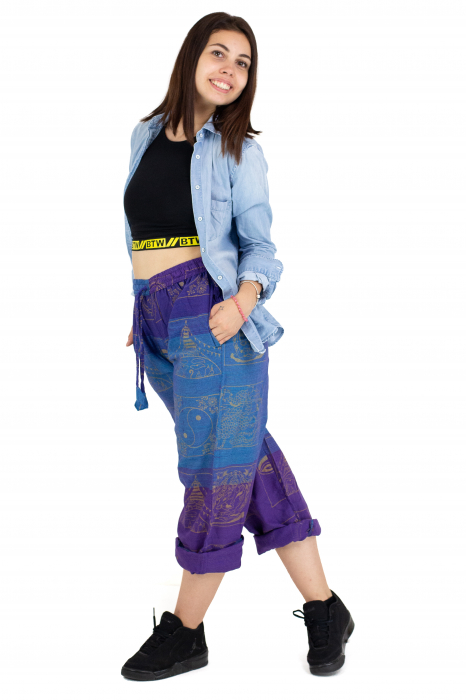 Pantaloni lejeri albastru cu mov - Heart of Hinduism [5]