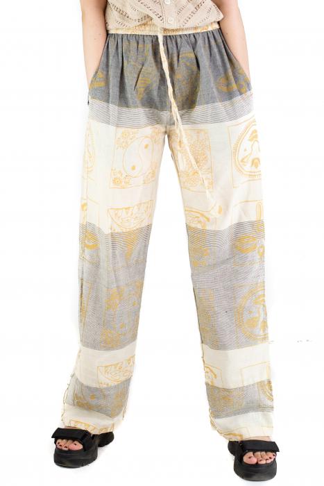 Pantaloni lejeri crem cu gri - Heart of Hinduism [0]