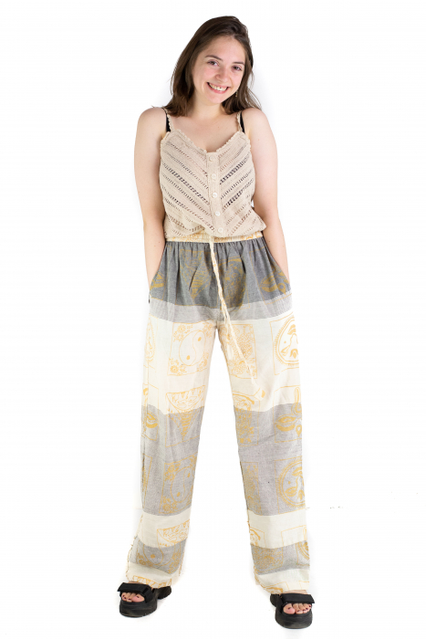Pantaloni lejeri crem cu gri - Heart of Hinduism [1]