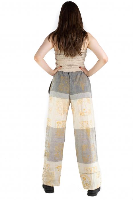 Pantaloni lejeri crem cu gri - Heart of Hinduism [4]