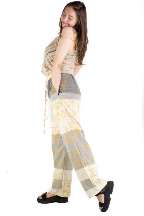 Pantaloni lejeri crem cu gri - Heart of Hinduism [2]