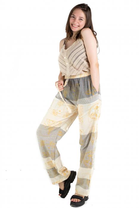 Pantaloni lejeri crem cu gri - Heart of Hinduism [3]