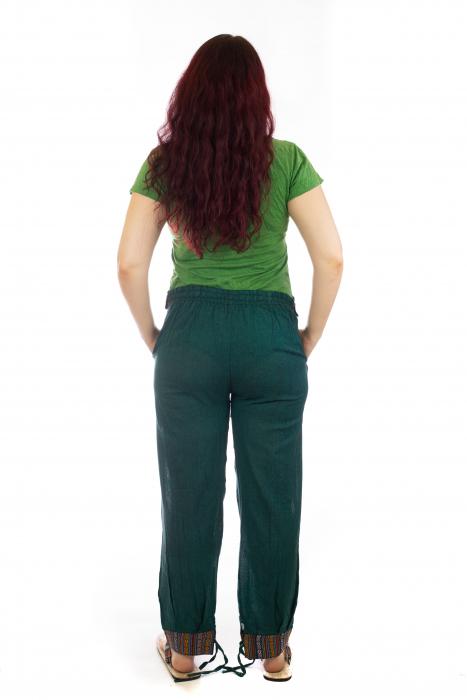 Pantaloni lejeri cu motive Etno - Verde 3