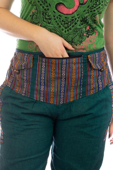 Pantaloni lejeri cu motive Etno - Verde 1