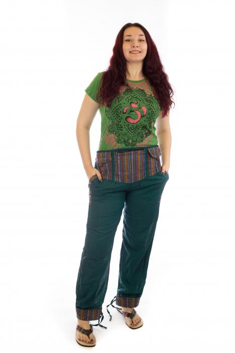 Pantaloni lejeri cu motive Etno - Verde 0