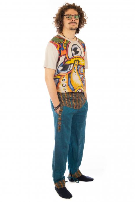 Pantaloni lejeri cu motive Etno - Turcoaz 5