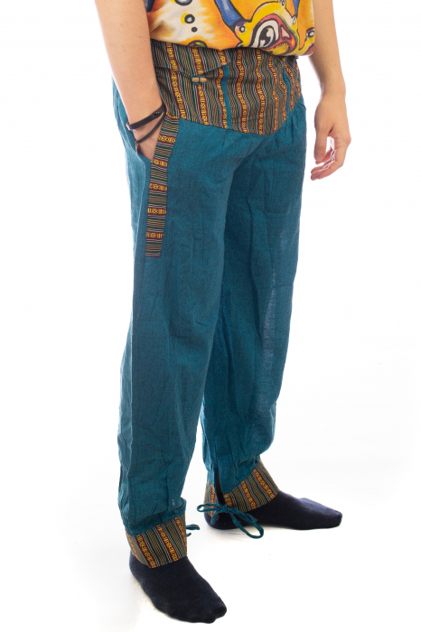 Pantaloni lejeri cu motive Etno - Turcoaz 6