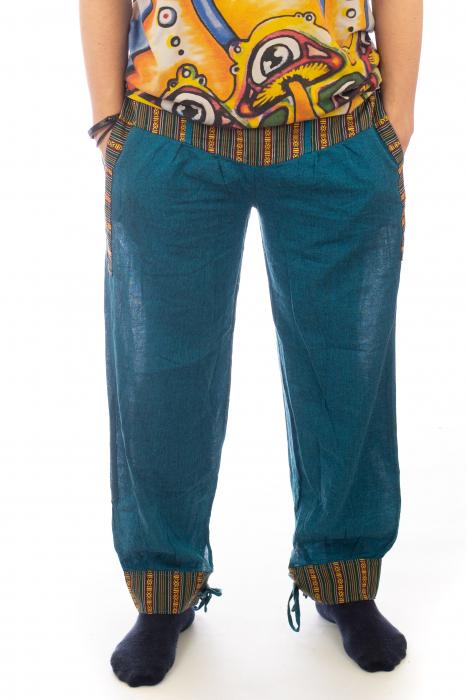 Pantaloni lejeri cu motive Etno - Turcoaz 0