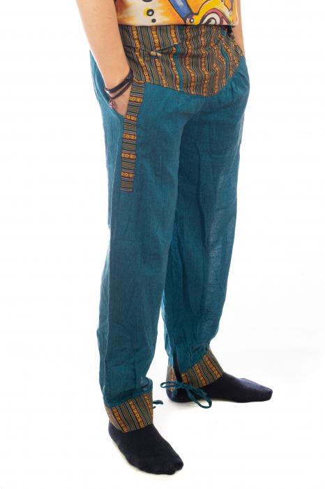 Pantaloni lejeri cu motive Etno - Turcoaz 4