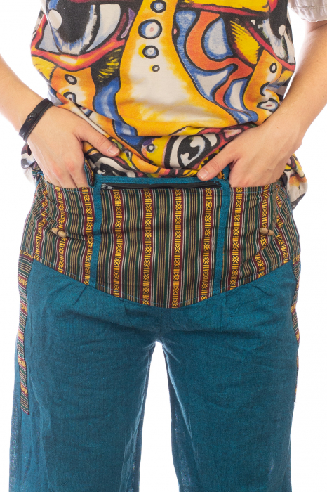 Pantaloni lejeri cu motive Etno - Turcoaz 2