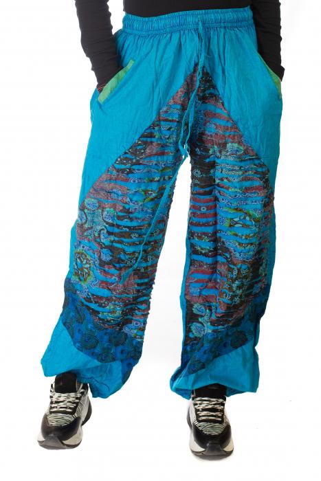 Pantaloni lejeri cu print si accente razor-cut - Albastru 3 0