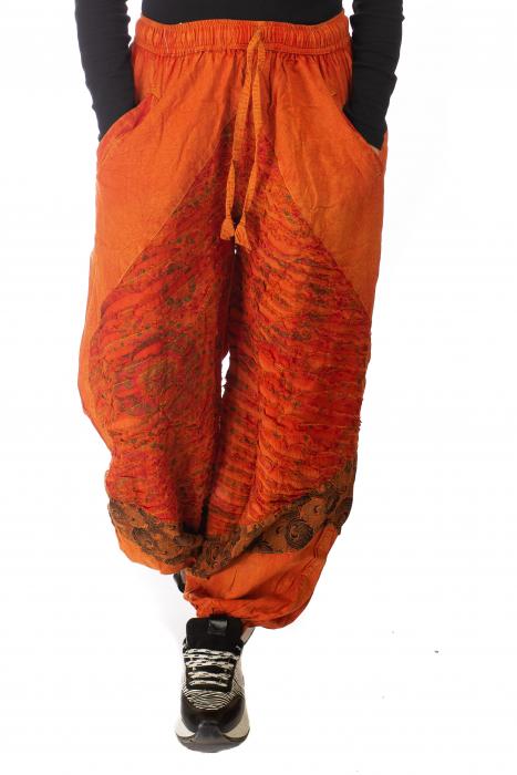 Pantaloni lejeri cu print si accente razor-cut - Portocaliu model 1 0
