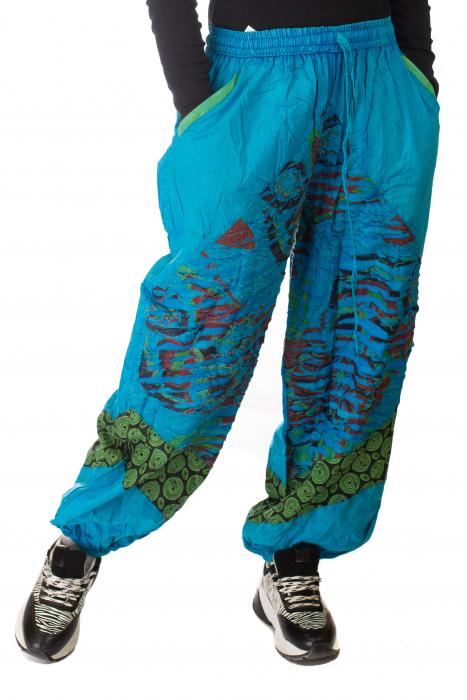 Pantaloni lejeri cu print si accente razor-cut - Albastru 2 0