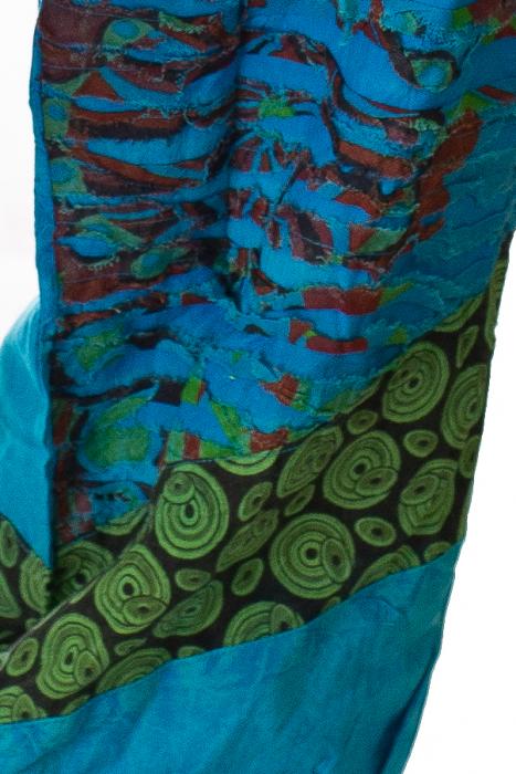 Pantaloni lejeri cu print si accente razor-cut - Albastru 2 2