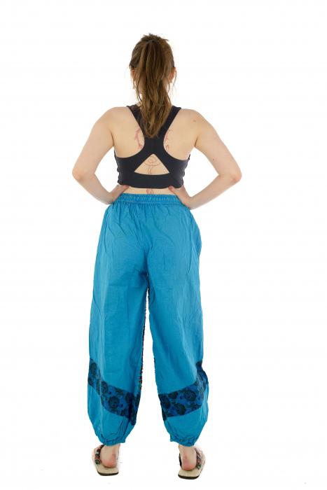 Pantaloni lejeri cu print si accente razor-cut - Albastru - Model 2 5