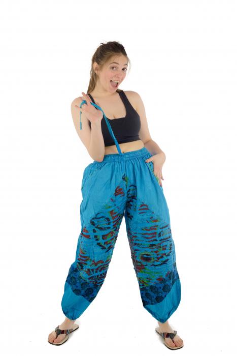 Pantaloni lejeri cu print si accente razor-cut - Albastru - Model 2 7