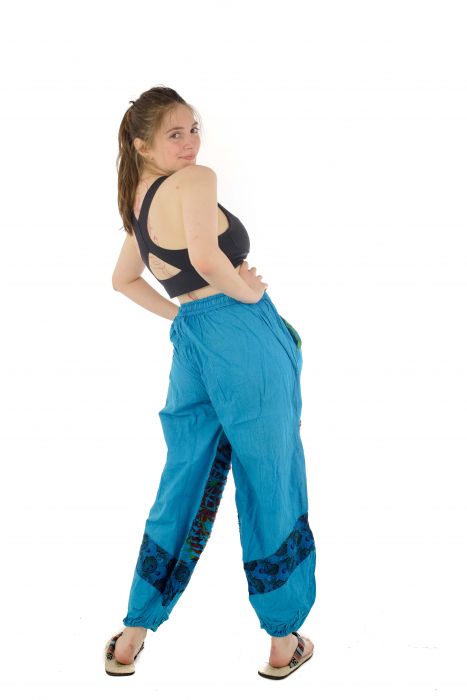 Pantaloni lejeri cu print si accente razor-cut - Albastru - Model 2 6