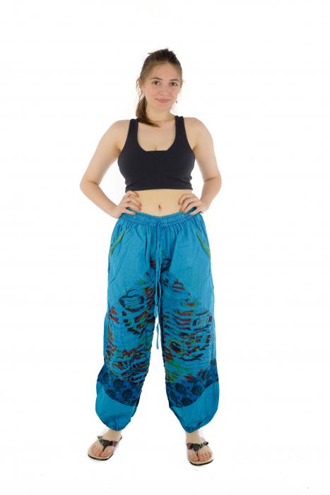 Pantaloni lejeri cu print si accente razor-cut - Albastru - Model 2 1