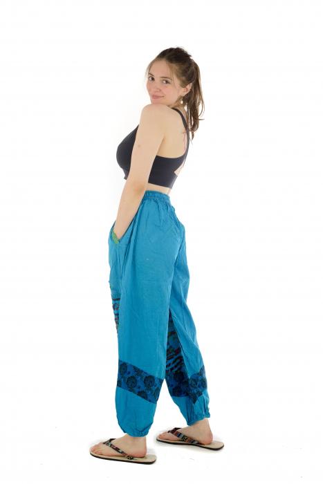 Pantaloni lejeri cu print si accente razor-cut - Albastru - Model 2 4
