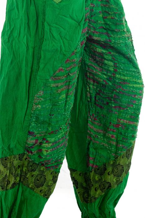 Pantaloni lejeri cu print si accente razor-cut - Verde - Model 2 3