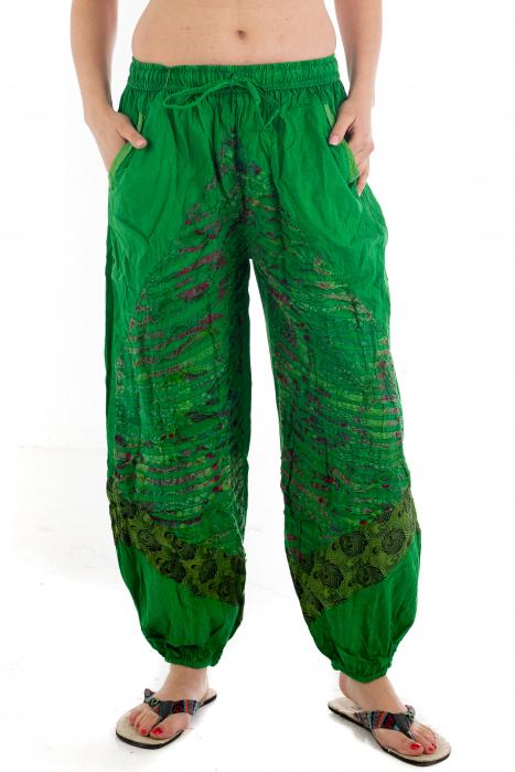 Pantaloni lejeri cu print si accente razor-cut - Verde - Model 2 0
