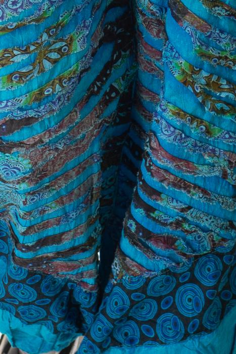 Pantaloni lejeri cu print si accente razor-cut - Albastru 4 2