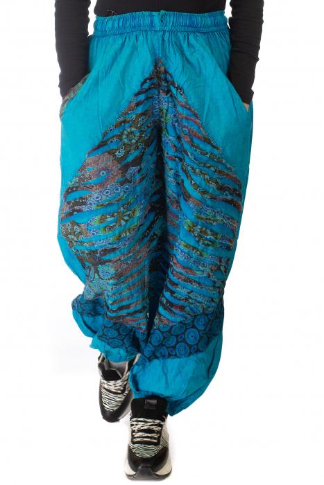 Pantaloni lejeri cu print si accente razor-cut - Albastru 4 0