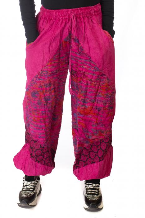 Pantaloni lejeri cu print si accente razor-cut - Roz 0