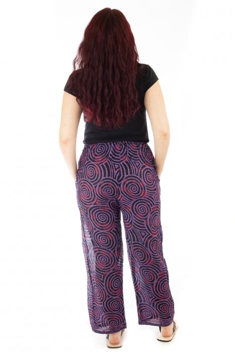 Pantaloni lejeri din bumbac colorati - Spiral - Mov Inchis 2