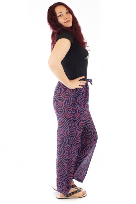 Pantaloni lejeri din bumbac colorati - Spiral - Mov Inchis 1