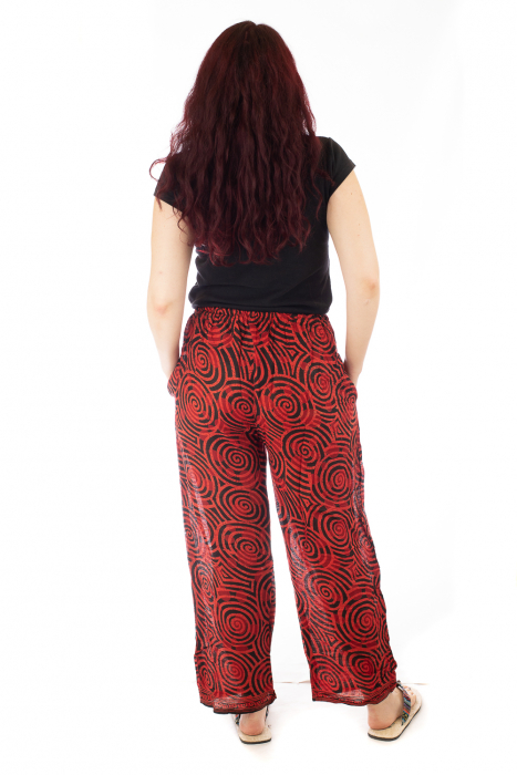 Pantaloni lejeri din bumbac colorati - Spiral - Rosu 2