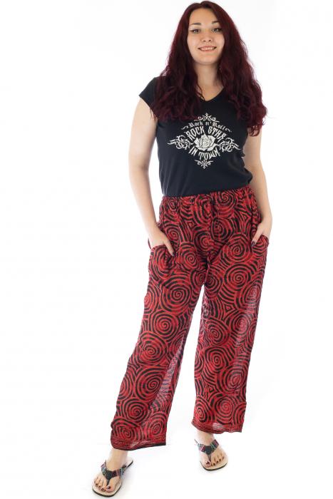Pantaloni lejeri din bumbac colorati - Spiral - Rosu 0