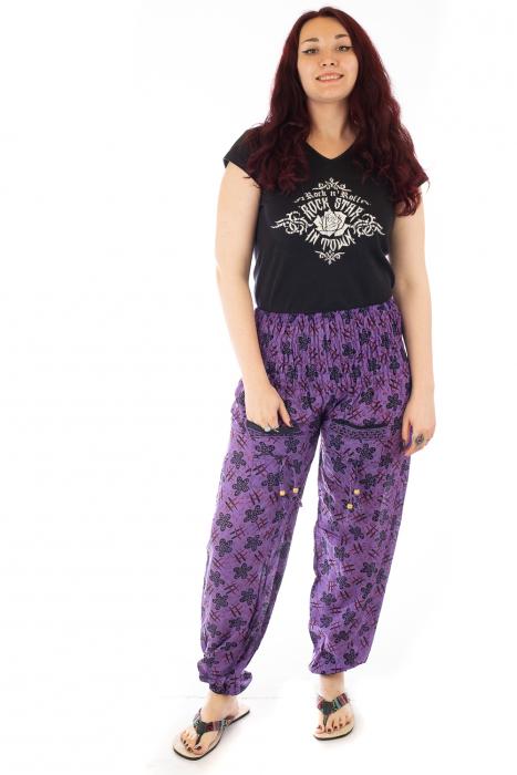 Pantaloni lejeri din bumbac - Hashtag Flower 0