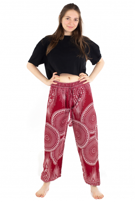 Pantaloni lejeri din rayon - Red Mandala [2]