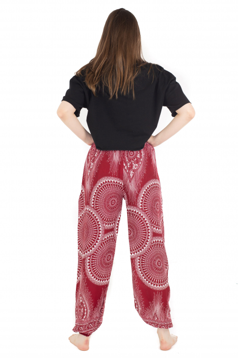 Pantaloni lejeri din rayon - Red Mandala [4]
