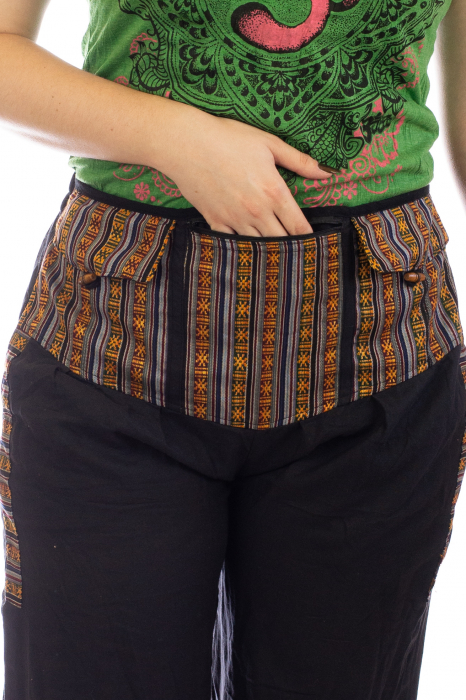 Pantaloni lejeri cu motive Etno - Negru [2]