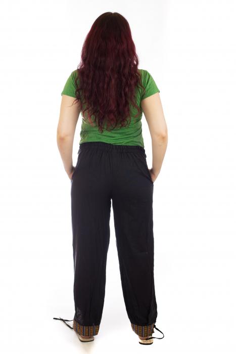 Pantaloni lejeri cu motive Etno - Negru [3]