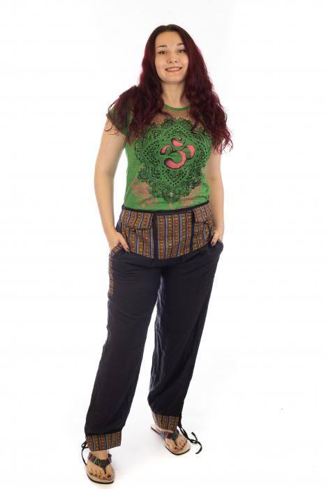 Pantaloni lejeri cu motive Etno - Negru [0]