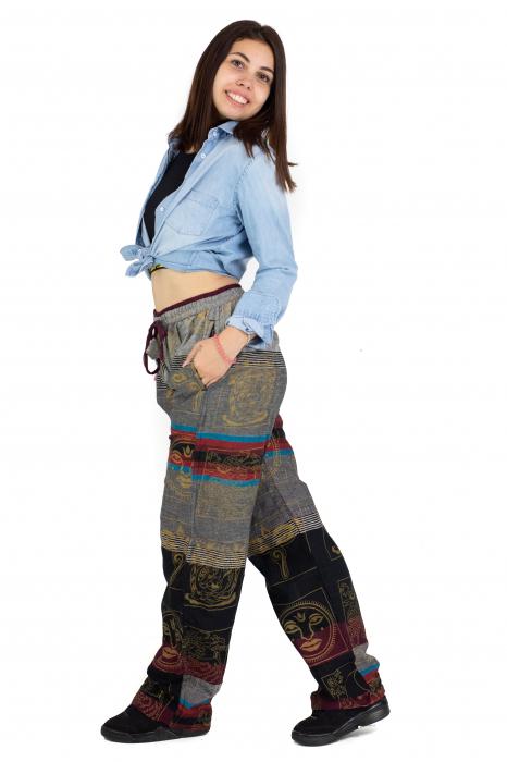 Pantaloni lejeri gri cu rosu  - Heart of Hinduism [5]