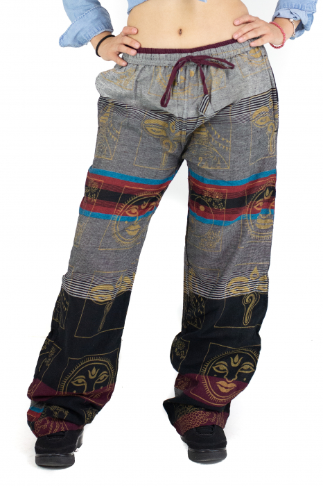 Pantaloni lejeri gri cu rosu  - Heart of Hinduism [0]
