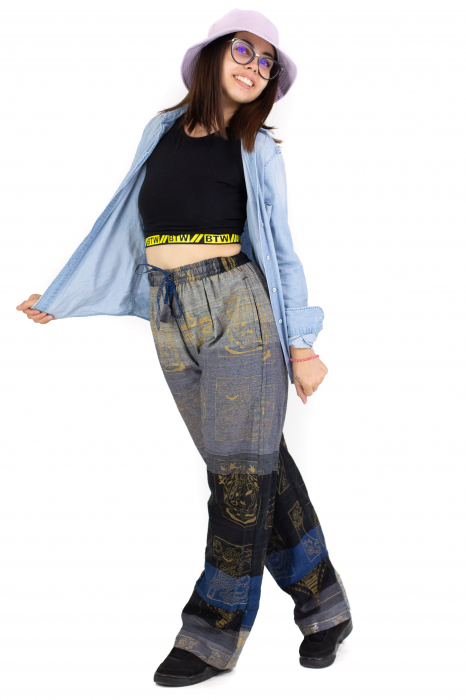 Pantaloni lejeri gri negru cu albastru - Heart of Hinduism [5]