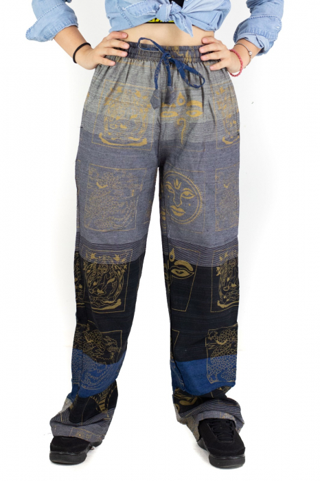 Pantaloni lejeri gri negru cu albastru - Heart of Hinduism [0]