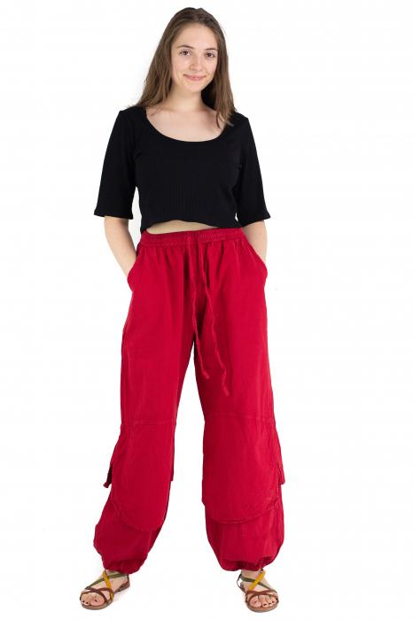 Pantaloni lejeri intr-o culoare - Rosu [1]