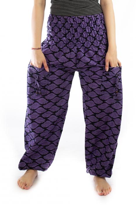 Pantaloni Lejeri - Mov cu Print 1