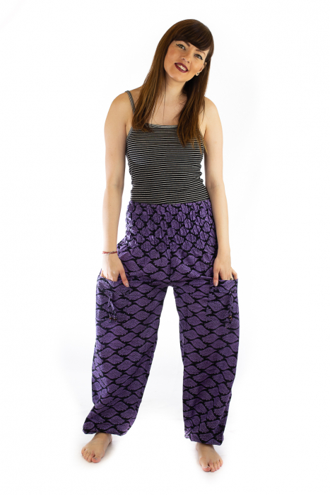 Pantaloni Lejeri - Mov cu Print 0