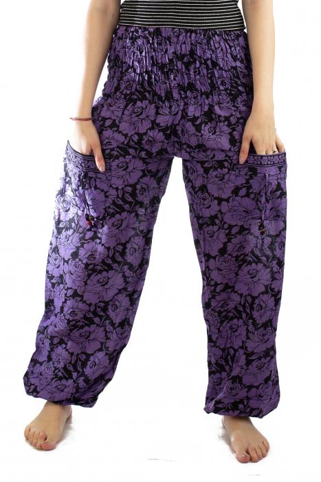 Pantaloni Lejeri - Mov cu Flori 1