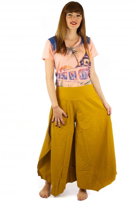 Pantaloni lejeri - Petal Tips Evazat - Galben 0