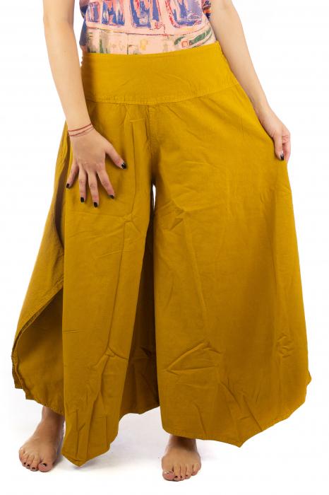 Pantaloni lejeri - Petal Tips Evazat - Galben 1
